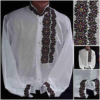 "Мужская рубашка с вышивкой ""Модерн"", домотканка, 42-56 размер,730/680 (цена за 1 шт. + 50 гр.)"
