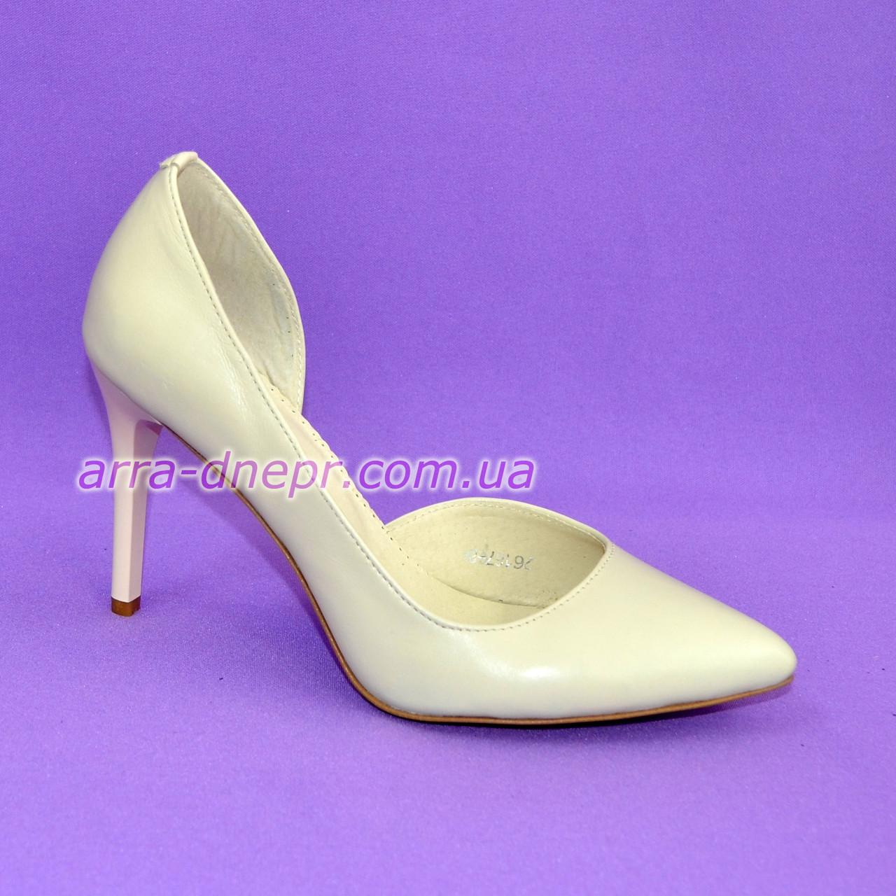 Стильные женские туфли на шпильке, натуральная кожа бежевого цвета