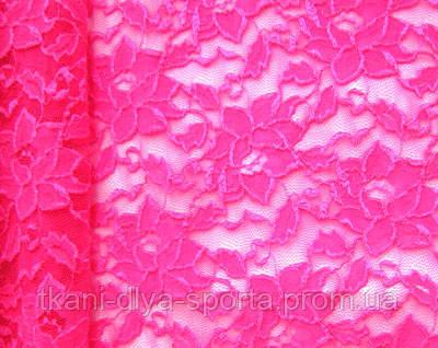 Стрейч-гипюр ярко-розовый fluo
