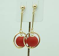 Модные серьги из Кореи- матовые серьги красные шарики. Серьги Korea 3116