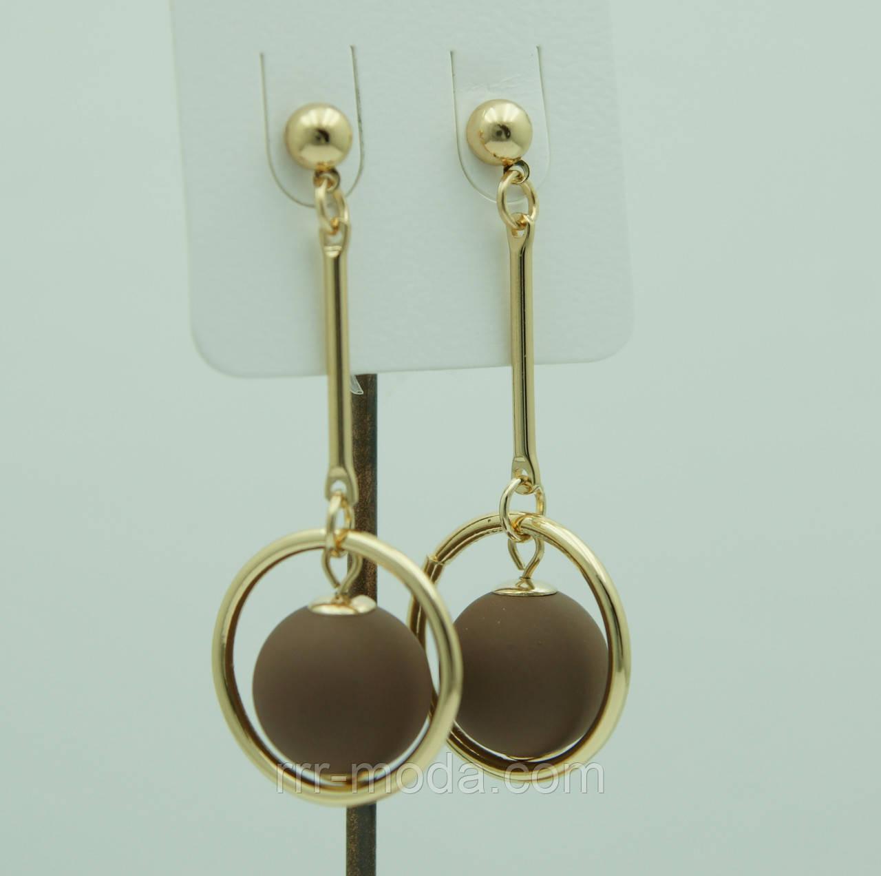 Коричневые кольца серьги шарики из Кореи. Серьги Korea 3123