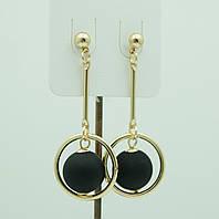 Черные кольца серьги шарики из Кореи. Серьги Korea 3124