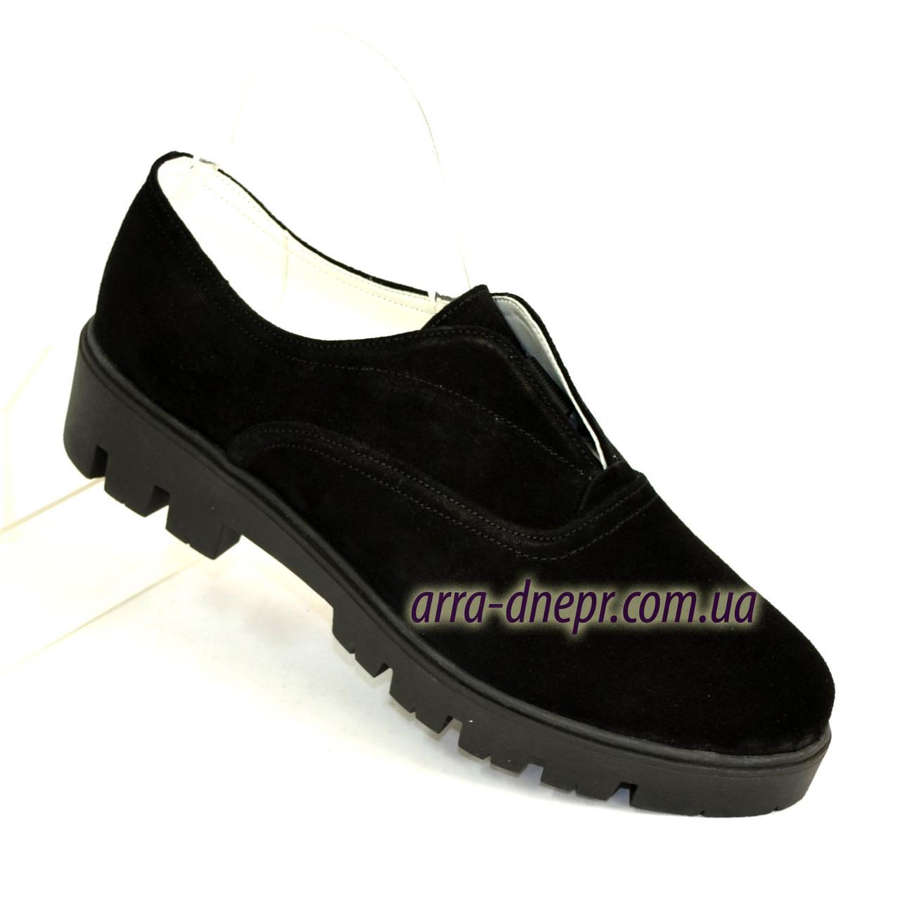 Женские черные туфли на утолщенной подошве, замша.