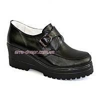 Кожаные женские закрытые туфли на платформе