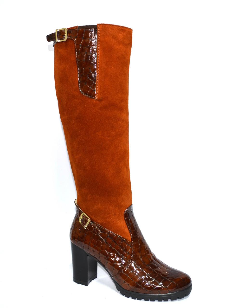 58443ea87 Женские высокие стильные сапоги, натуральный замш+кожа крокодил,  демисезонные ...