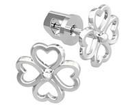 Серьги серебряные гвоздики Цветок Сердечек 40952