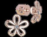 Серьги серебряные гвоздики Ромашка с камнем 40955, фото 2