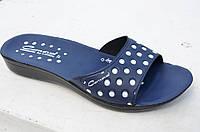 Шлепанцы, сланцы женские легкие синие в горошек популярные Турция. Топ