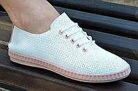 Кроссовки женские искусственная перфорированная кожа легкие практичные белые. Экономия