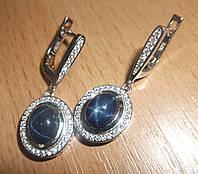 Изящные серьги с крупными синими звездчатыми сапфирами от студии LadyStyle.Biz, фото 1
