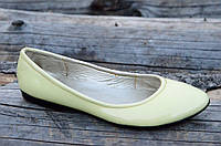 Балетки женские бледно желтые кожзам лак стильные практичные Львов (Код: Б728а)