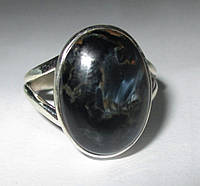 """Серебряное кольцо с петерситом """"Синий овал"""", размер 18.1 от Студии  www.LadyStyle.Biz"""
