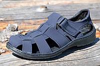 Босоножки, сандали мужские темно синие прошиты практичные искусственный нубук. Топ