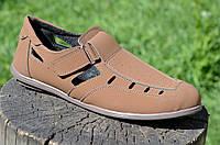 Босоножки, сандали мужские коричневые искусственный нубук на липучке. Топ