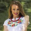 Женская вышиванка с коротким рукавом полевые цветы до 56 размера