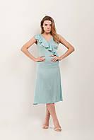 Платье с воланом по линии запаха аквамарин