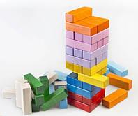 Деревянная игрушка Дженга цветная в коробке