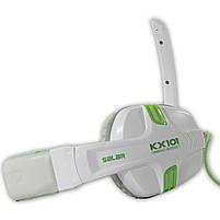 Игровая гарнитура SALAR KX101 Белый с микрофоном стерео 3.5 jack для игр геймеров пк игровые наушники, фото 3