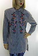 Жіноча сорочка-туніка в смужку з вишивкою Comlex