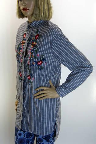 Жіноча сорочка-туніка в смужку з вишивкою Comlex, фото 2