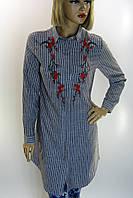 Рубашка -туника в полоску с вышивкой Comlex