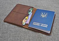 Обложка из натуральной кожи для паспорта, карт и денег ручной работы