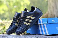 Adidas Superstar черные с золотом (Реплика ААА+)