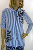 Жіноча блузка-сорочка в полоску з вишивкою