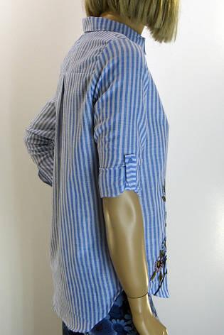 Жіноча блузка-сорочка в полоску з вишивкою, фото 2