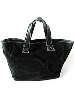 Сумка - шоппер из натуральной замши черного цвета