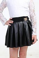Черная кожаная детская юбка 028