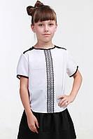 Детская белая блузка с коротким рукавом 013