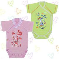 Бодики для новорожденных 1-3мес. Хлопок-Ажур, 13040тро , короткий рукав 0-3 месяцев, В наличии 56,62 Рост
