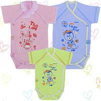 Бодики для новорожденных 1-3мес оптом Хлопок-Ажур, 13040тро , короткий рукав 0-3 месяцев, В наличии 56,62 Рост