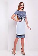 Летнее деловое платье миди короткий рукав Лорета голубой Лоя-1 КД к/р