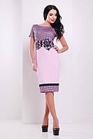 Летнее деловое платье миди короткий рукав Лорета розовый Лоя-1 КД к/р