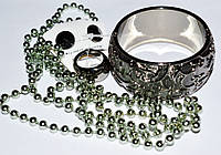 Набор, пластик, серый, браслет, бусы, кольцо, серьги 8_9_23а3