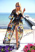 Трендовая пляжная женская туника в пол приталенного фасона с цветочным принтом шифон Турция