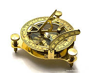 Солнечные часы с компасом бронзовые (12х12х4 см) ( 26756)