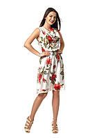 Красивое шифоновое платье Стефани белое с розами