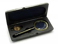 Лупа с компасом в деревянном футляре (23,5х11х4 см) Лупа (d-8см, h-20см.) Компас (d-3,8см)) ( 28236)