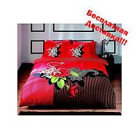 Постельное белье Tac сатин - Avalon красное евро