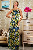 Летнее длинное платье из шифона, синее с подсолнухами, размеры 42-48