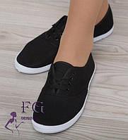 Женские черные мокасины на шнурках, летние, легкие и удобные / женские кеды черные, с шнурками, 2017