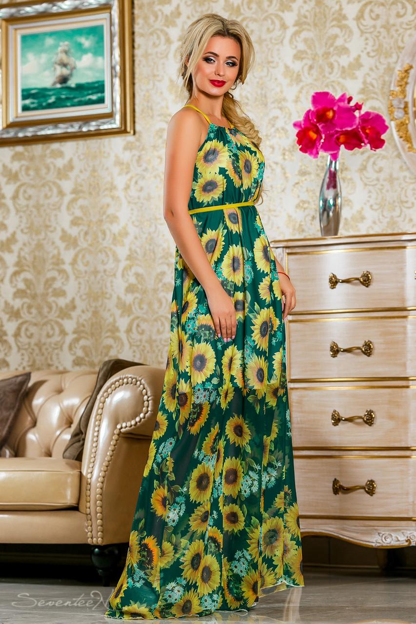 Красивое летнее  платье в пол 2236 зеленый-цветочный принт