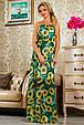 Красивое летнее  платье в пол 2236 зеленый-цветочный принт, фото 2