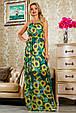 Красивое летнее  платье в пол 2236 зеленый-цветочный принт, фото 3