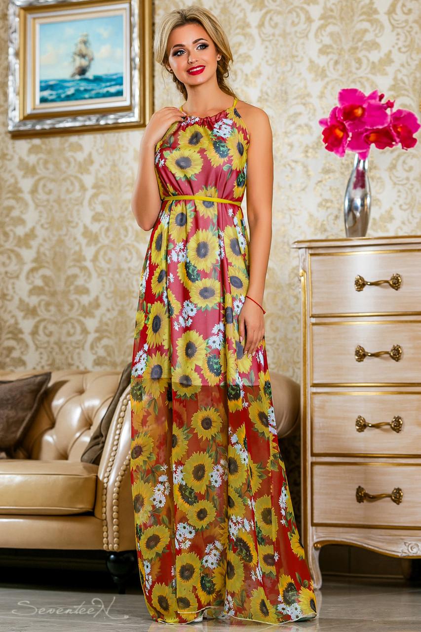 Красивое летнее  платье в пол 2235 красный-цветочный принт