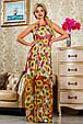 Красивое летнее  платье в пол 2235 красный-цветочный принт, фото 2