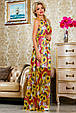 Красивое летнее  платье в пол 2235 красный-цветочный принт, фото 3